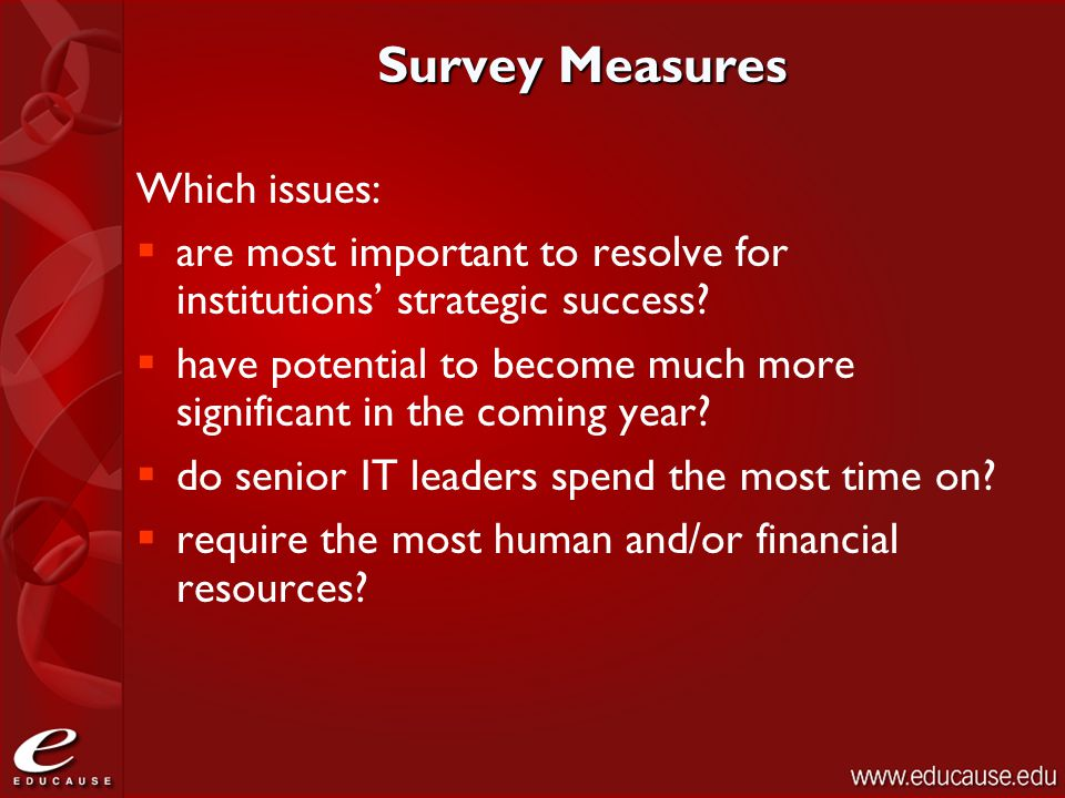 Survey Measures Which issues:  are most important to resolve for institutions' strategic success?  have potential to become much more significant in