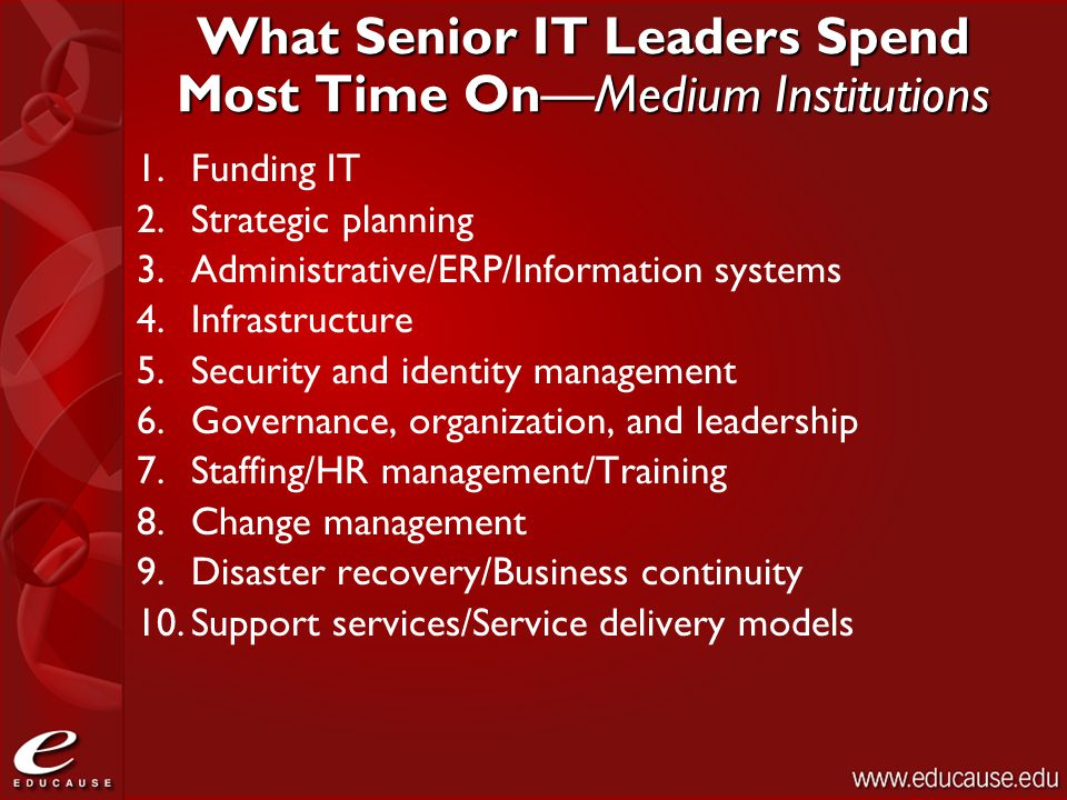 What Senior IT Leaders Spend Most Time On—Medium Institutions 1.Funding IT 2.Strategic planning 3.Administrative/ERP/Information systems 4.Infrastruct
