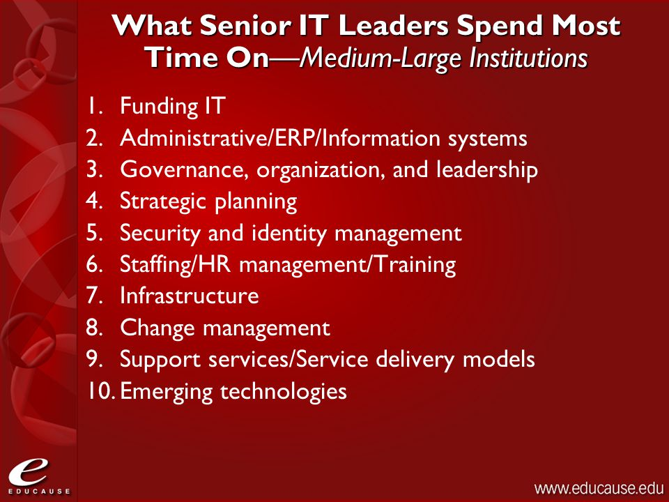 What Senior IT Leaders Spend Most Time On—Medium-Large Institutions 1.Funding IT 2.Administrative/ERP/Information systems 3.Governance, organization, and leadership 4.Strategic planning 5.Security and identity management 6.Staffing/HR management/Training 7.Infrastructure 8.Change management 9.Support services/Service delivery models 10.Emerging technologies