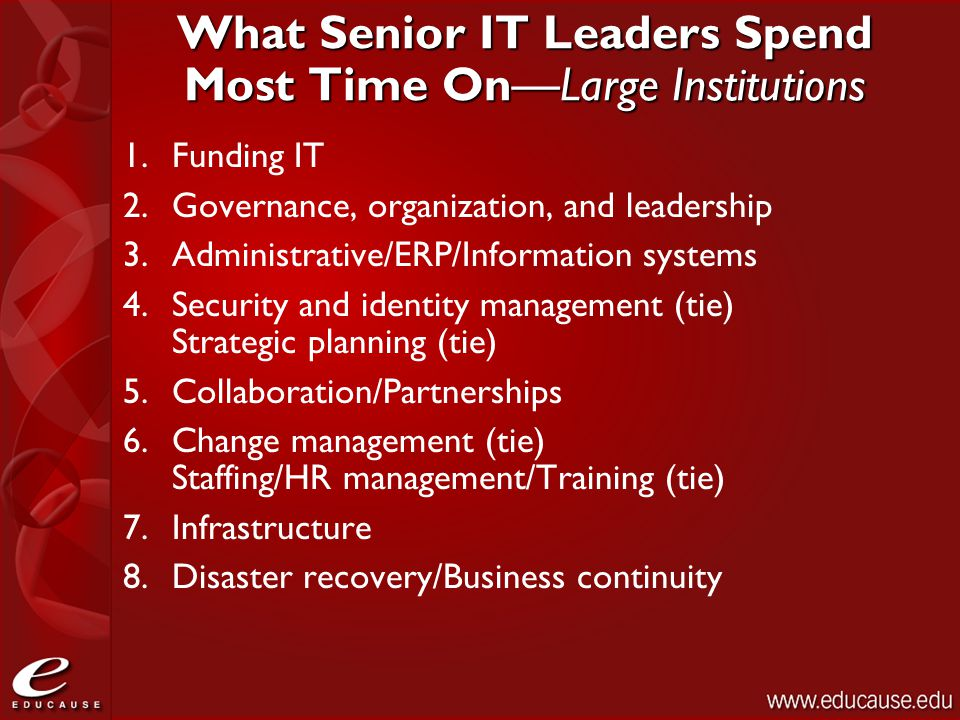What Senior IT Leaders Spend Most Time On—Large Institutions 1.Funding IT 2.Governance, organization, and leadership 3.Administrative/ERP/Information systems 4.Security and identity management (tie) Strategic planning (tie) 5.Collaboration/Partnerships 6.Change management (tie) Staffing/HR management/Training (tie) 7.Infrastructure 8.Disaster recovery/Business continuity