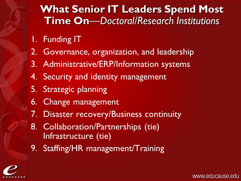 What Senior IT Leaders Spend Most Time On—Doctoral/Research Institutions 1.Funding IT 2.Governance, organization, and leadership 3.Administrative/ERP/