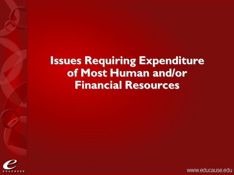 Issues Requiring Expenditure of Most Human and/or Financial Resources
