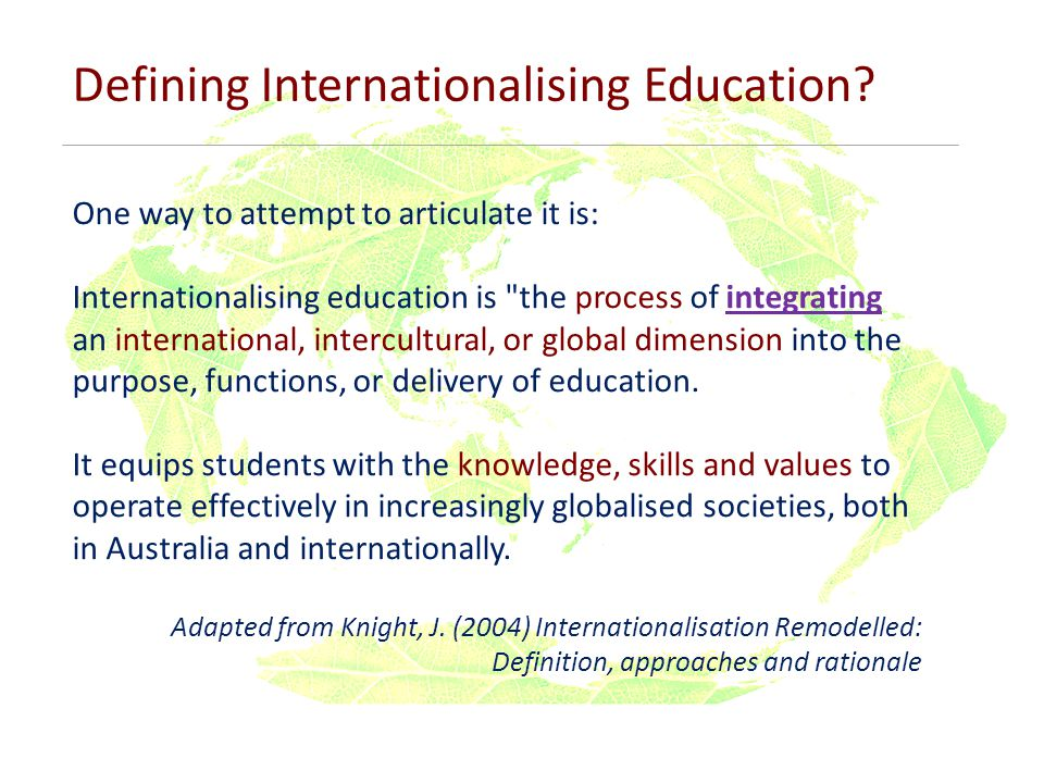 Defining Internationalising Education.