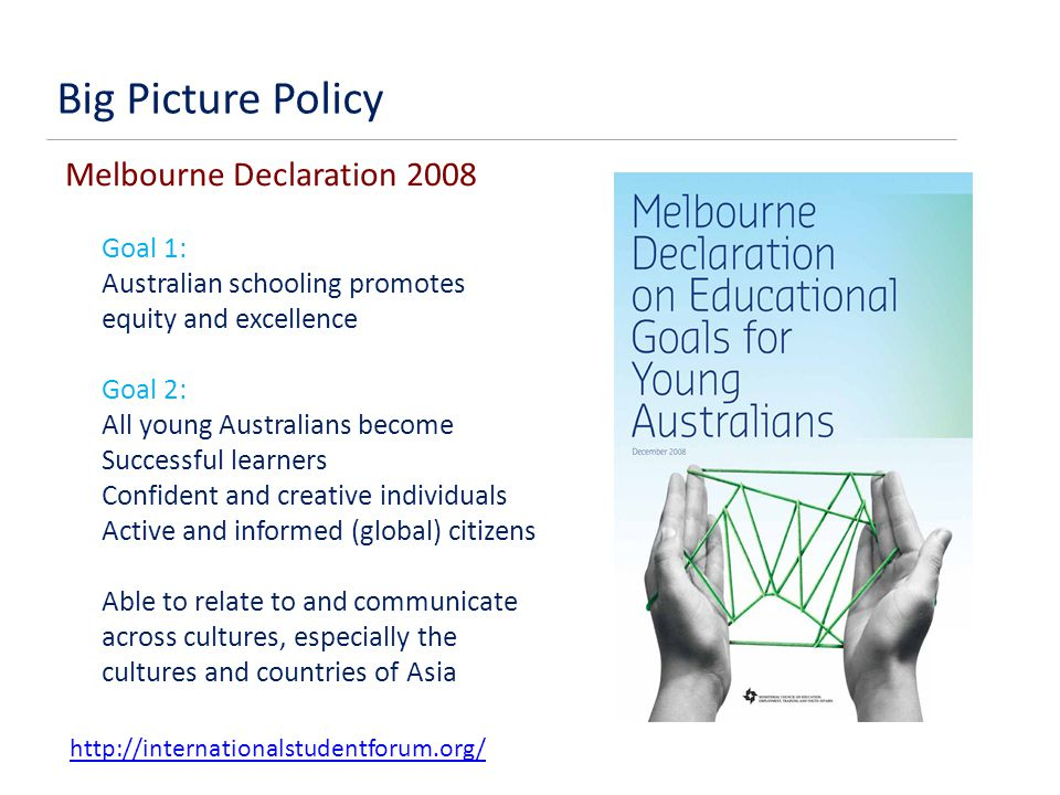 Melbourne Declaration 2008 Goal 1: Australian schooling promotes equity and excellence Goal 2: All young Australians become Successful learners Confident and creative individuals Active and informed (global) citizens Able to relate to and communicate across cultures, especially the cultures and countries of Asia http://internationalstudentforum.org/ Big Picture Policy