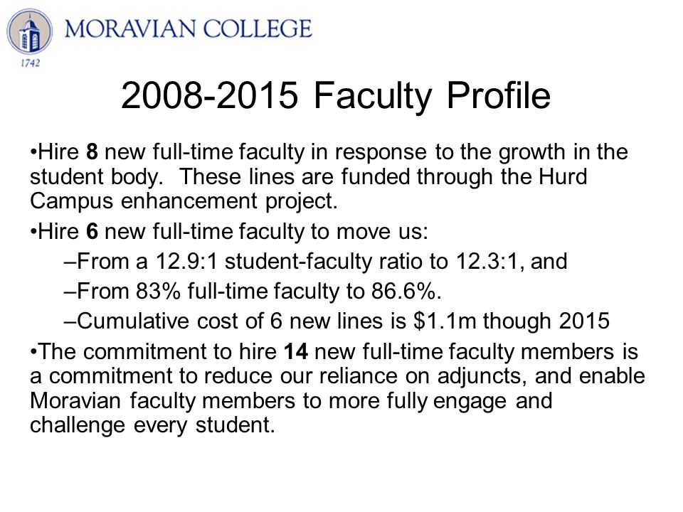 2008-2015 Faculty Profile Hire 8 new full-time faculty in response to the growth in the student body.