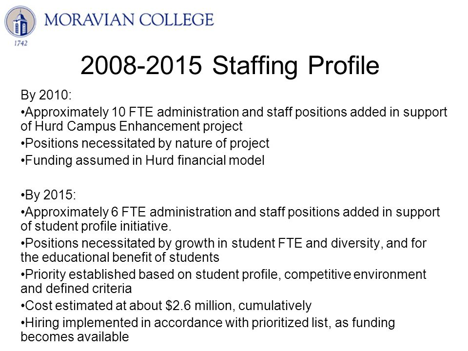 2008-2015 Staffing Profile By 2010: Approximately 10 FTE administration and staff positions added in support of Hurd Campus Enhancement project Positions necessitated by nature of project Funding assumed in Hurd financial model By 2015: Approximately 6 FTE administration and staff positions added in support of student profile initiative.