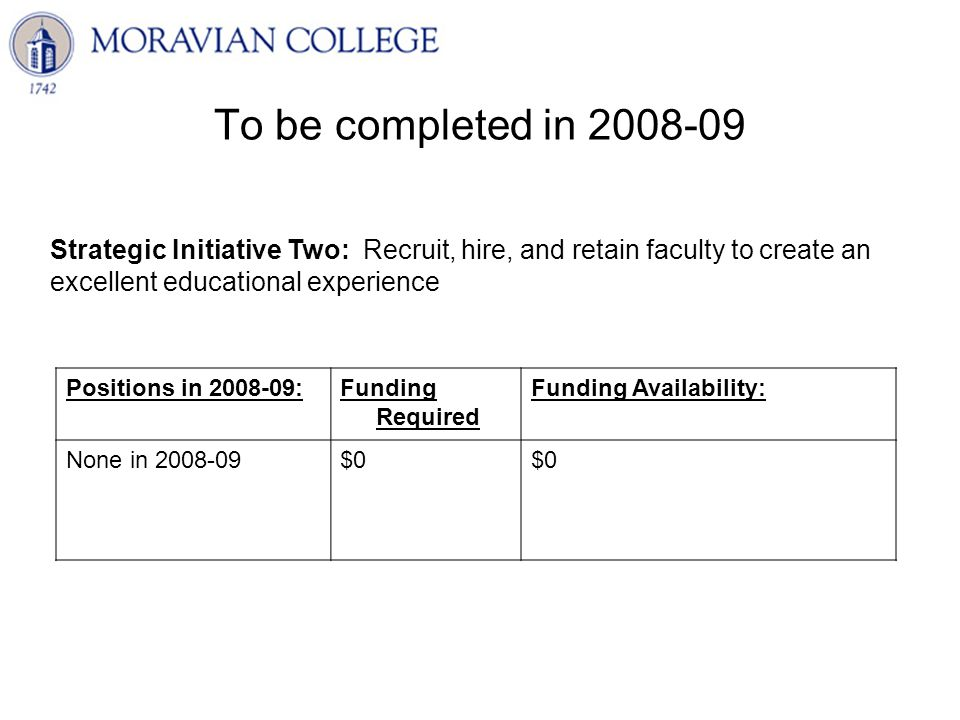 To be completed in 2008-09 Strategic Initiative Two: Recruit, hire, and retain faculty to create an excellent educational experience Positions in 2008-09:Funding Required Funding Availability: None in 2008-09$0