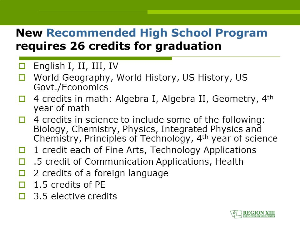 New Recommended High School Program requires 26 credits for graduation  English I, II, III, IV  World Geography, World History, US History, US Govt./Economics  4 credits in math: Algebra I, Algebra II, Geometry, 4 th year of math  4 credits in science to include some of the following: Biology, Chemistry, Physics, Integrated Physics and Chemistry, Principles of Technology, 4 th year of science  1 credit each of Fine Arts, Technology Applications .5 credit of Communication Applications, Health  2 credits of a foreign language  1.5 credits of PE  3.5 elective credits