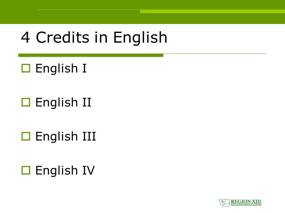 4 Credits in English  English I  English II  English III  English IV