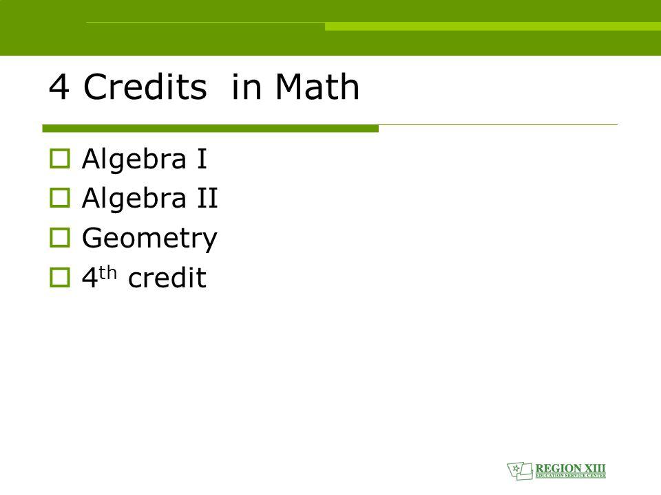 4 Credits in Math  Algebra I  Algebra II  Geometry  4 th credit