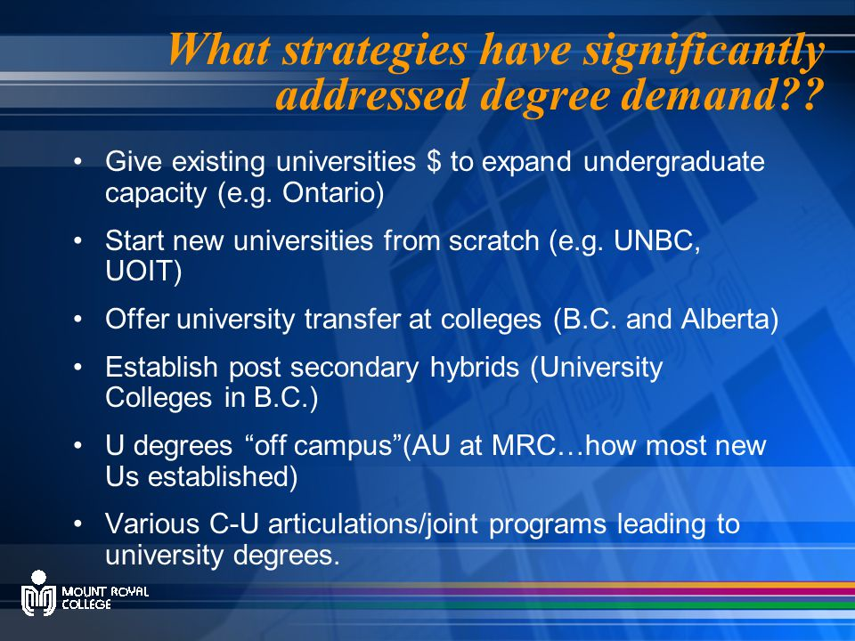 What strategies have significantly addressed degree demand .