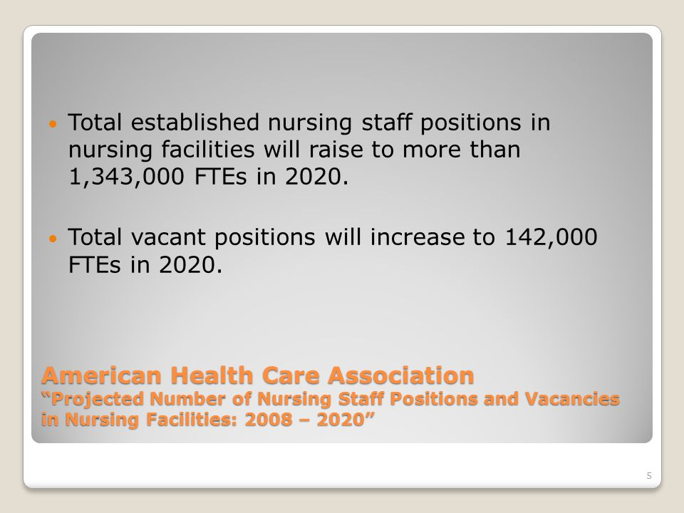 5 American Health Care Association Projected Number of Nursing Staff Positions and Vacancies in Nursing Facilities: 2008 – 2020 Total established nursing staff positions in nursing facilities will raise to more than 1,343,000 FTEs in 2020.