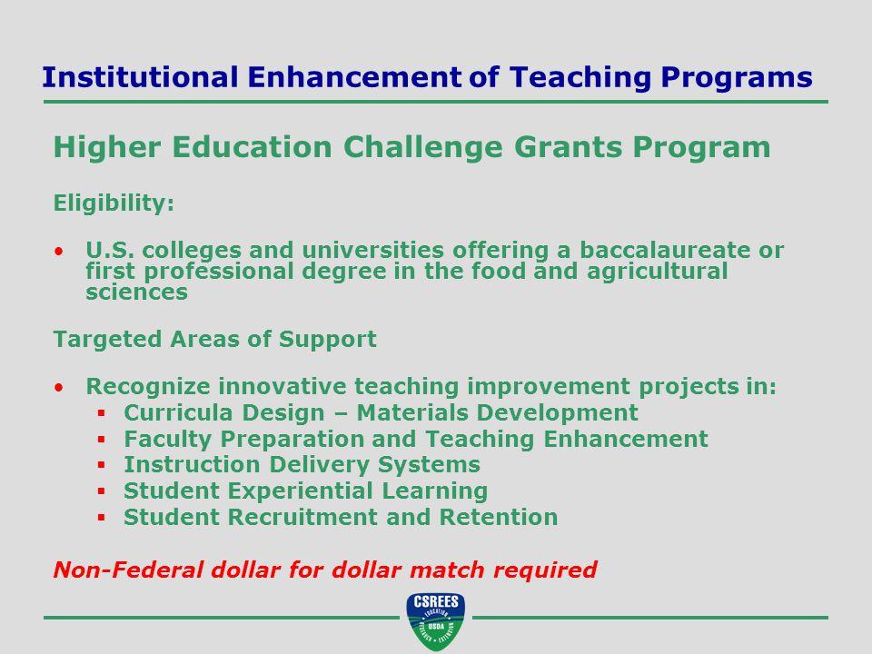 Institutional Enhancement of Teaching Programs Higher Education Challenge Grants Program Eligibility: U.S.
