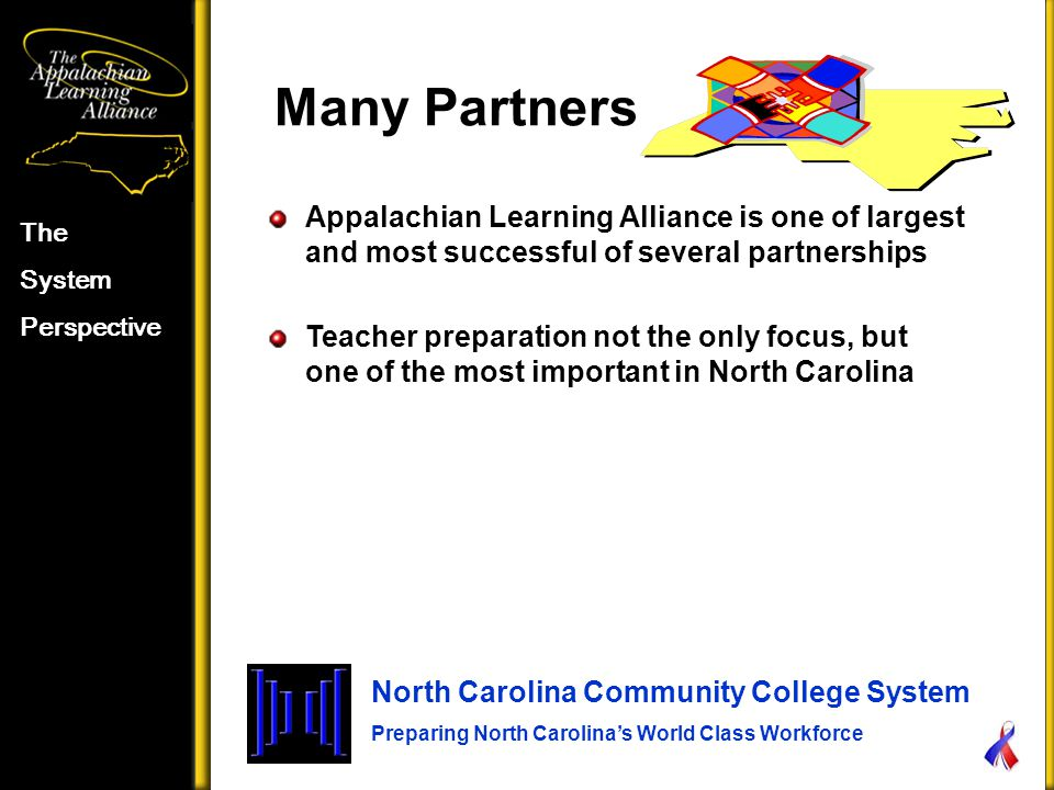 Many Partners The System Perspective North Carolina Community College System Preparing North Carolina's World Class Workforce Appalachian Learning Alliance is one of largest and most successful of several partnerships Teacher preparation not the only focus, but one of the most important in North Carolina