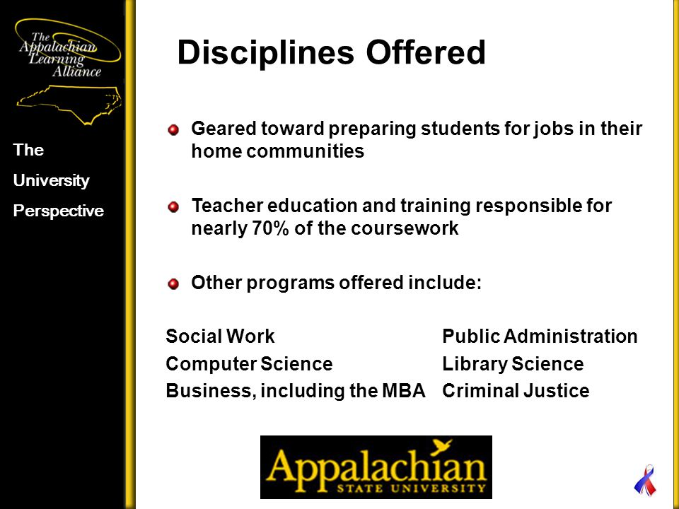 Disciplines Offered The University Perspective Geared toward preparing students for jobs in their home communities Teacher education and training responsible for nearly 70% of the coursework Other programs offered include: Social Work Public Administration Computer Science Library Science Business, including the MBA Criminal Justice
