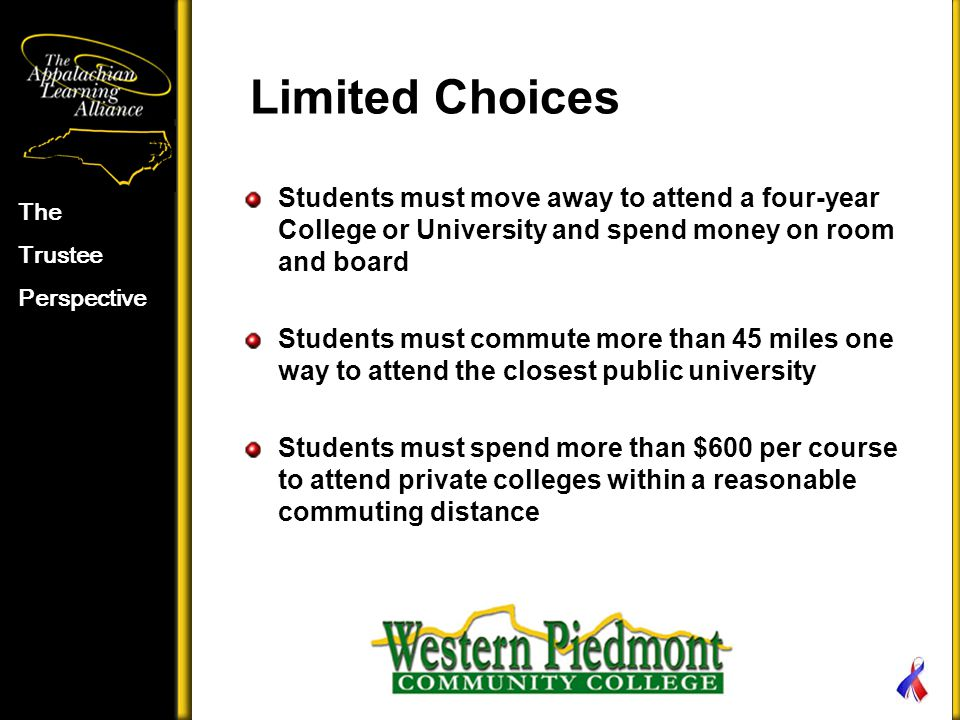 Limited Choices Students must move away to attend a four-year College or University and spend money on room and board Students must commute more than