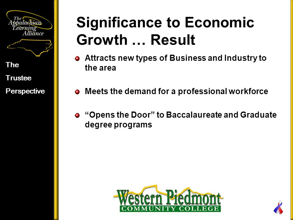 Significance to Economic Growth … Result Attracts new types of Business and Industry to the area Meets the demand for a professional workforce Opens the Door to Baccalaureate and Graduate degree programs The Trustee Perspective
