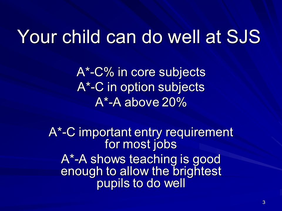 3 Your child can do well at SJS A*-C% in core subjects A*-C in option subjects A*-A above 20% A*-C important entry requirement for most jobs A*-A shows teaching is good enough to allow the brightest pupils to do well