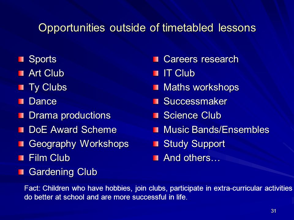 31 Opportunities outside of timetabled lessons Sports Art Club Ty Clubs Dance Drama productions DoE Award Scheme Geography Workshops Film Club Gardening Club Careers research IT Club Maths workshops Successmaker Science Club Music Bands/Ensembles Study Support And others… Fact: Children who have hobbies, join clubs, participate in extra-curricular activities do better at school and are more successful in life.