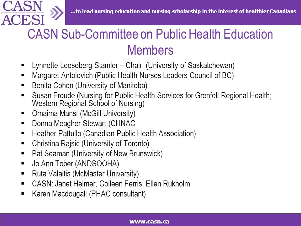 …to lead nursing education and nursing scholarship in the interest of healthier Canadians www.casn.ca CASN Sub-Committee on Public Health Education Me
