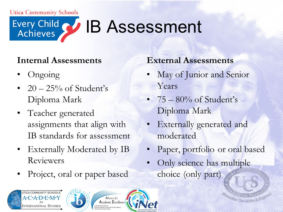IB Assessment Internal Assessments Ongoing 20 – 25% of Student's Diploma Mark Teacher generated assignments that align with IB standards for assessmen