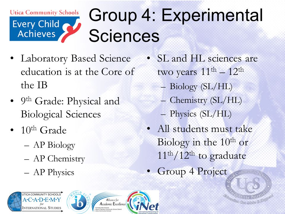 Group 4: Experimental Sciences Laboratory Based Science education is at the Core of the IB 9 th Grade: Physical and Biological Sciences 10 th Grade –A