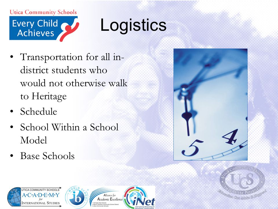 Logistics Transportation for all in- district students who would not otherwise walk to Heritage Schedule School Within a School Model Base Schools