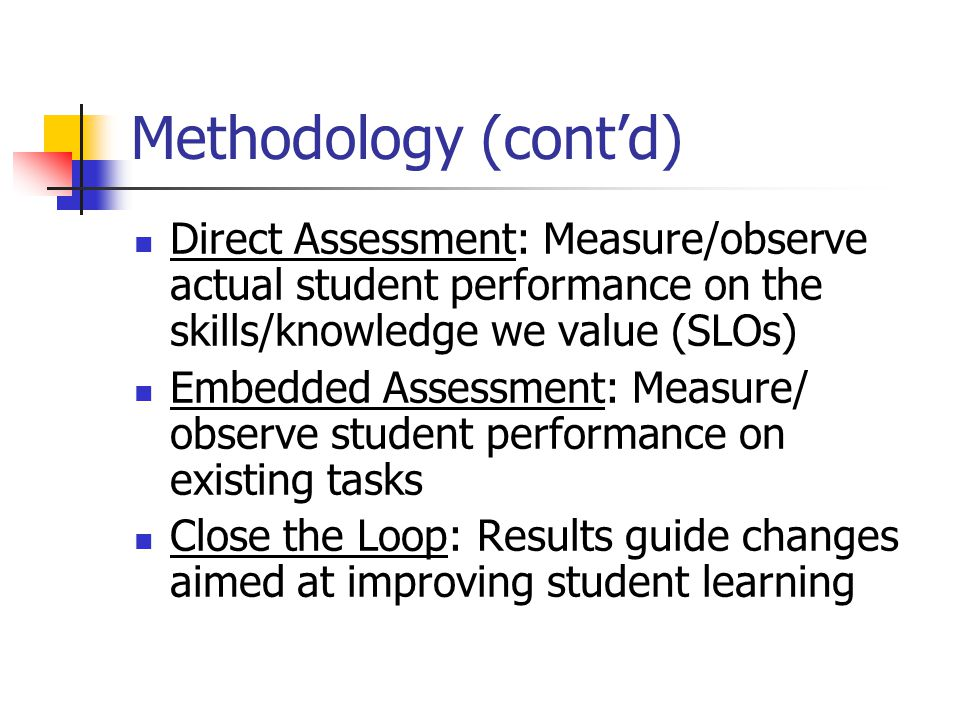 Conclusion Jazz assessment: new process, will require creativity, improvisation Participatory assessment … faculty input Learning organization … we need to learn about GE Culture of evidence … change in GE should be based on evidence Focus on student learning … #1 priority Transparency and accountability … no hidden agendas