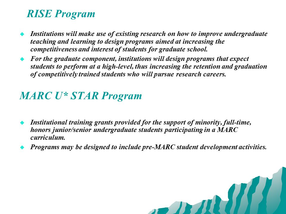 RISE Program   Institutions will make use of existing research on how to improve undergraduate teaching and learning to design programs aimed at increasing the competitiveness and interest of students for graduate school.