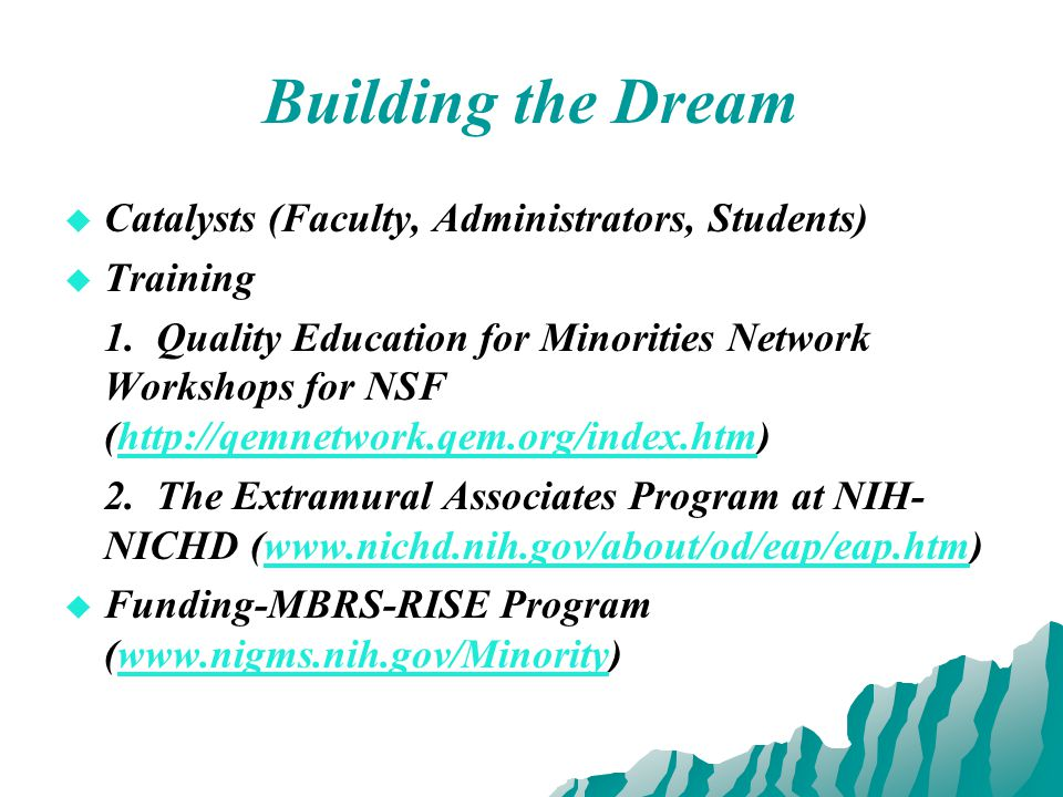 Building the Dream   Catalysts (Faculty, Administrators, Students)   Training 1.