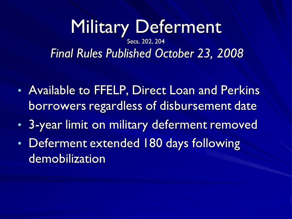 Military Deferment Secs.