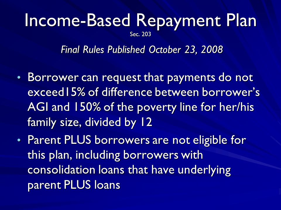 Income-Based Repayment Plan Sec.