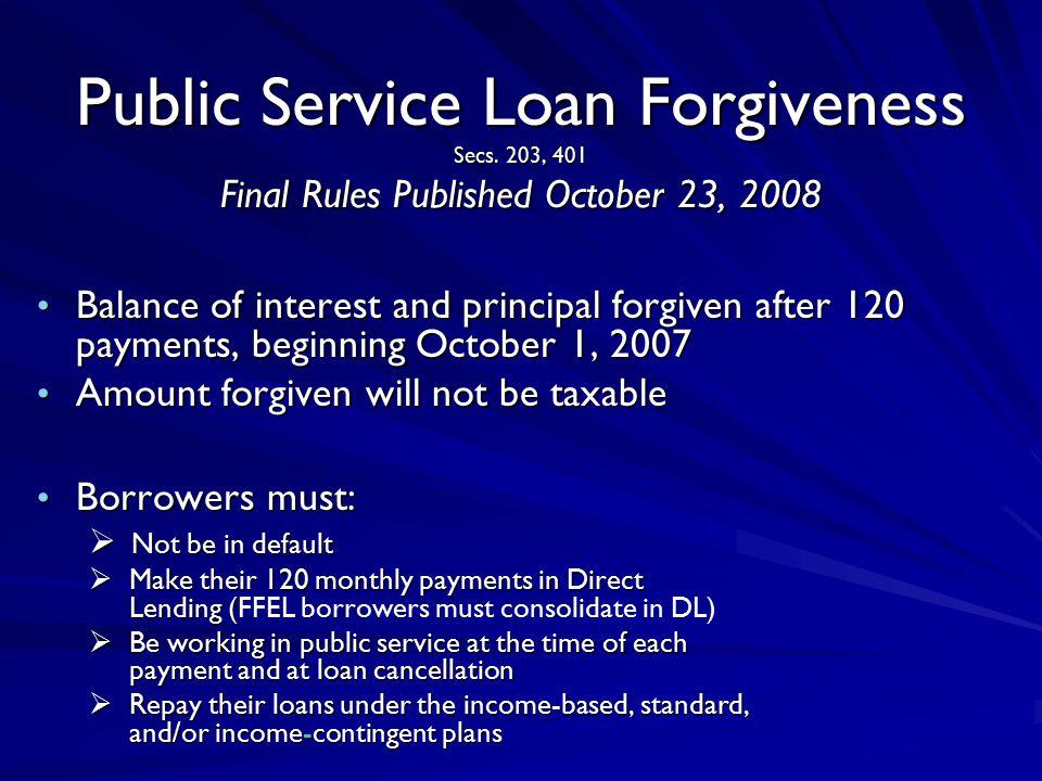 Public Service Loan Forgiveness Secs.