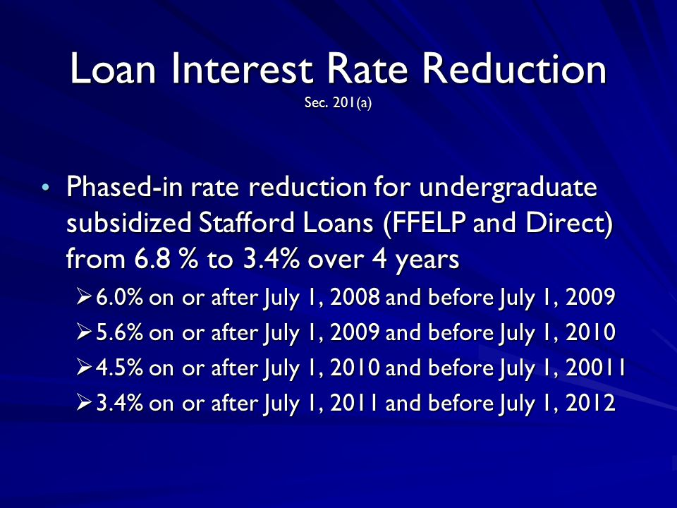 Loan Interest Rate Reduction Sec. 201(a) Phased-in rate reduction for undergraduate subsidized Stafford Loans (FFELP and Direct) from 6.8 % to 3.4% ov