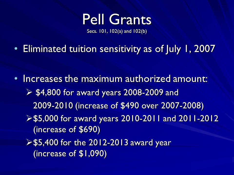Pell Grants Secs. 101, 102(a) and 102(b) Eliminated tuition sensitivity as of July 1, 2007Eliminated tuition sensitivity as of July 1, 2007 Increases