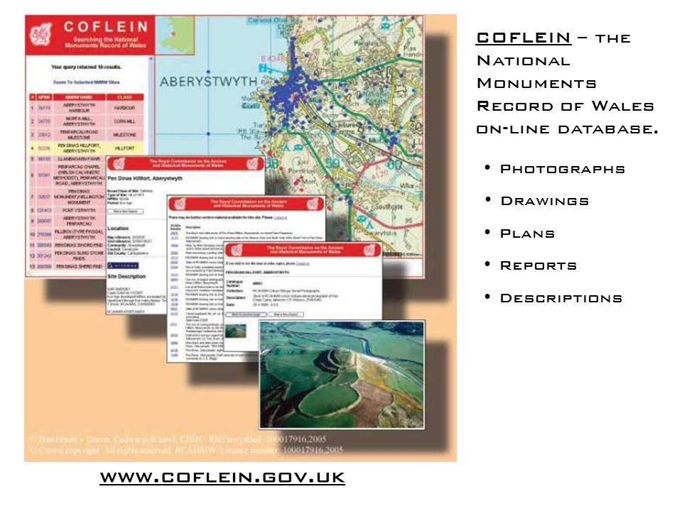 COFLEIN – the National Monuments Record of Wales on-line database.