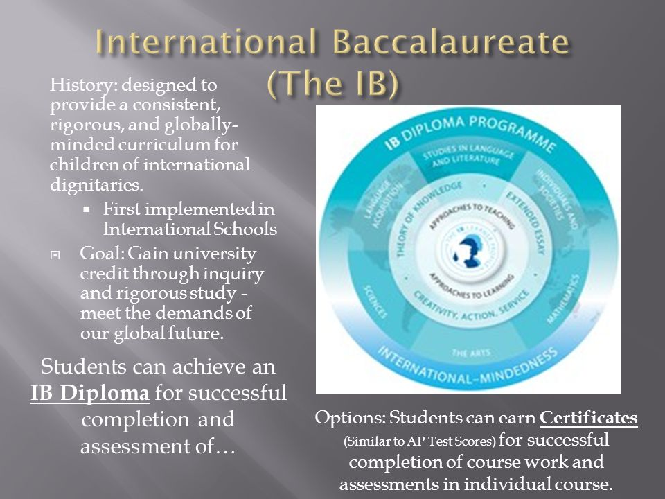 History: designed to provide a consistent, rigorous, and globally- minded curriculum for children of international dignitaries.