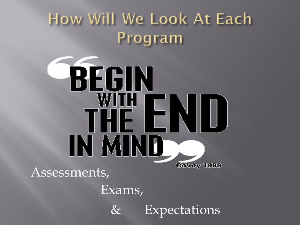 Assessments, Exams, & Expectations
