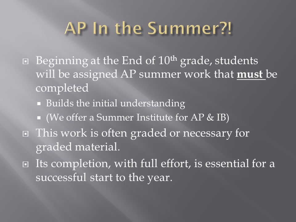  Students must have the requisite grades in prerequisite courses to be eligible for AP placement.