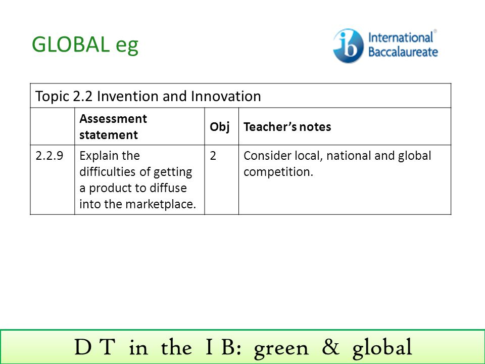 D T in the I B: green & global Topic 2.2 Invention and Innovation Assessment statement ObjTeacher's notes 2.2.9Explain the difficulties of getting a product to diffuse into the marketplace.