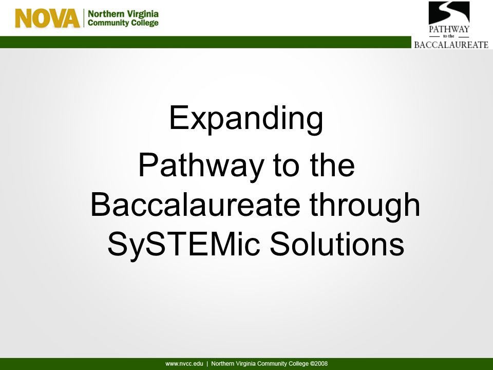 Expanding Pathway to the Baccalaureate through SySTEMic Solutions
