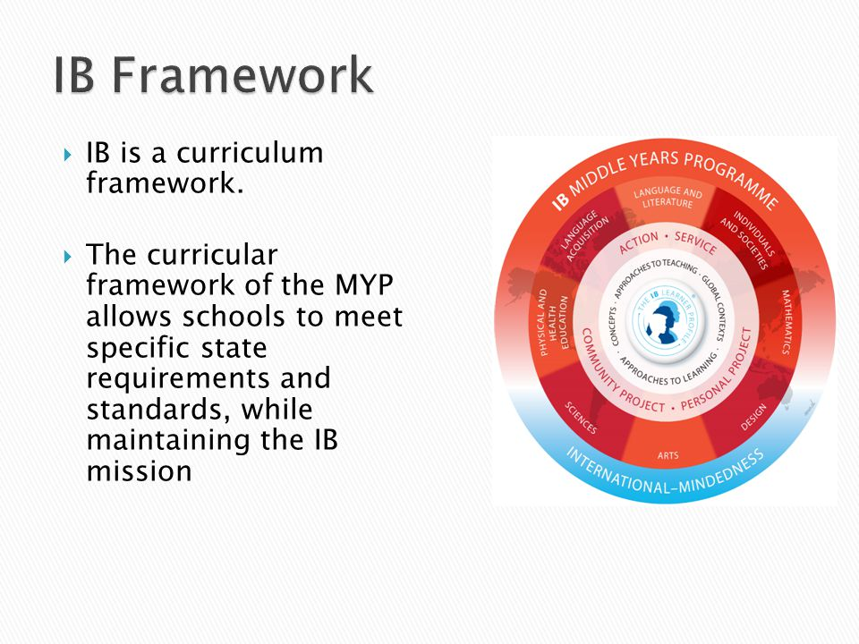  IB is a curriculum framework.
