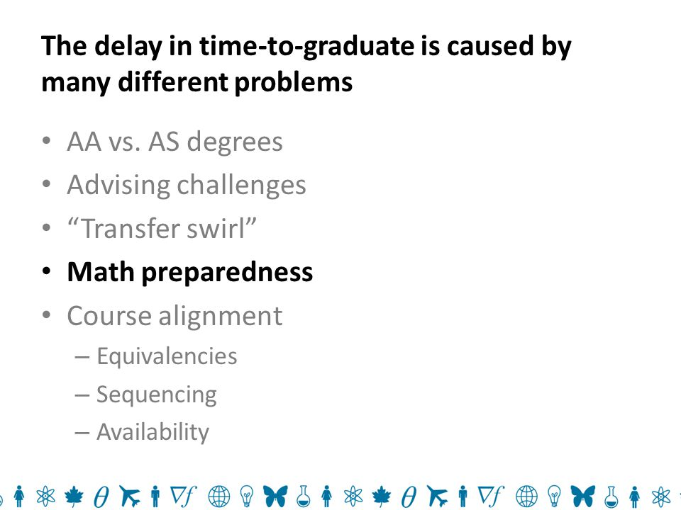 The delay in time-to-graduate is caused by many different problems AA vs.