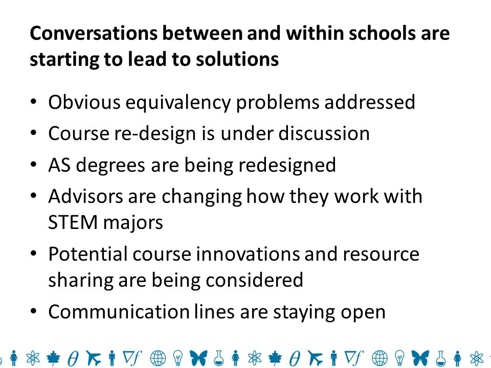 Conversations between and within schools are starting to lead to solutions Obvious equivalency problems addressed Course re-design is under discussion AS degrees are being redesigned Advisors are changing how they work with STEM majors Potential course innovations and resource sharing are being considered Communication lines are staying open