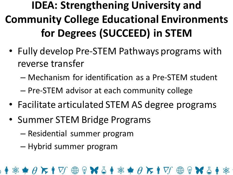 IDEA: Strengthening University and Community College Educational Environments for Degrees (SUCCEED) in STEM Fully develop Pre-STEM Pathways programs with reverse transfer – Mechanism for identification as a Pre-STEM student – Pre-STEM advisor at each community college Facilitate articulated STEM AS degree programs Summer STEM Bridge Programs – Residential summer program – Hybrid summer program