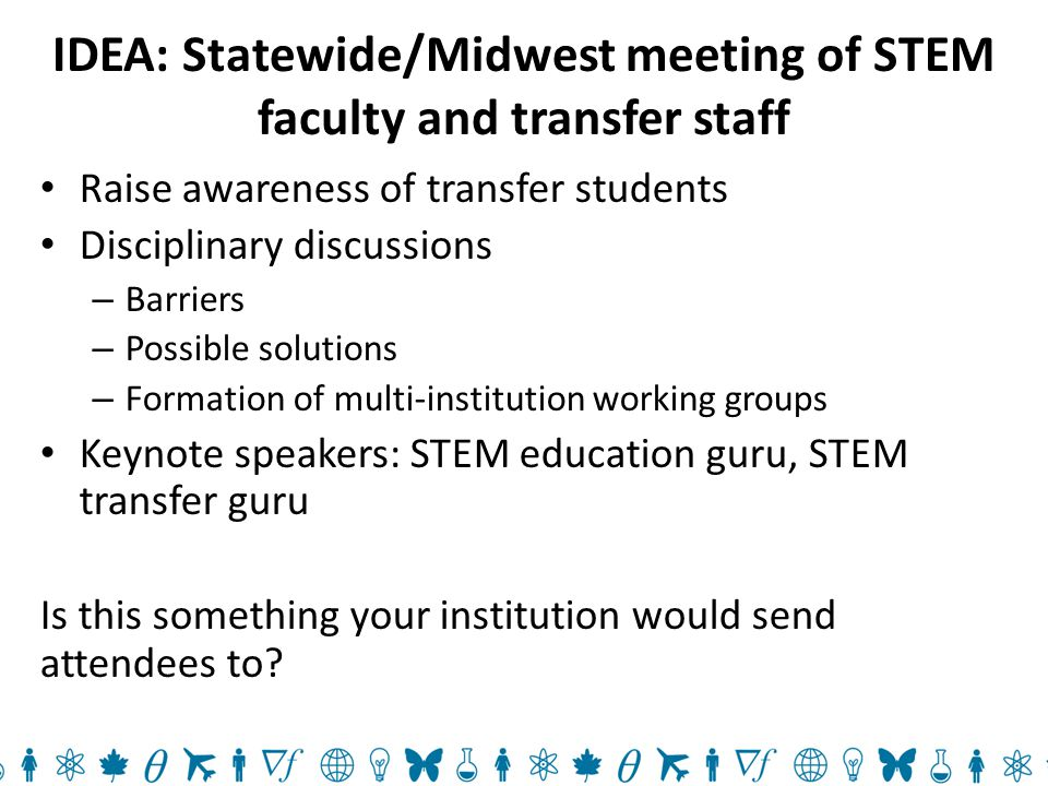 IDEA: Statewide/Midwest meeting of STEM faculty and transfer staff Raise awareness of transfer students Disciplinary discussions – Barriers – Possible solutions – Formation of multi-institution working groups Keynote speakers: STEM education guru, STEM transfer guru Is this something your institution would send attendees to