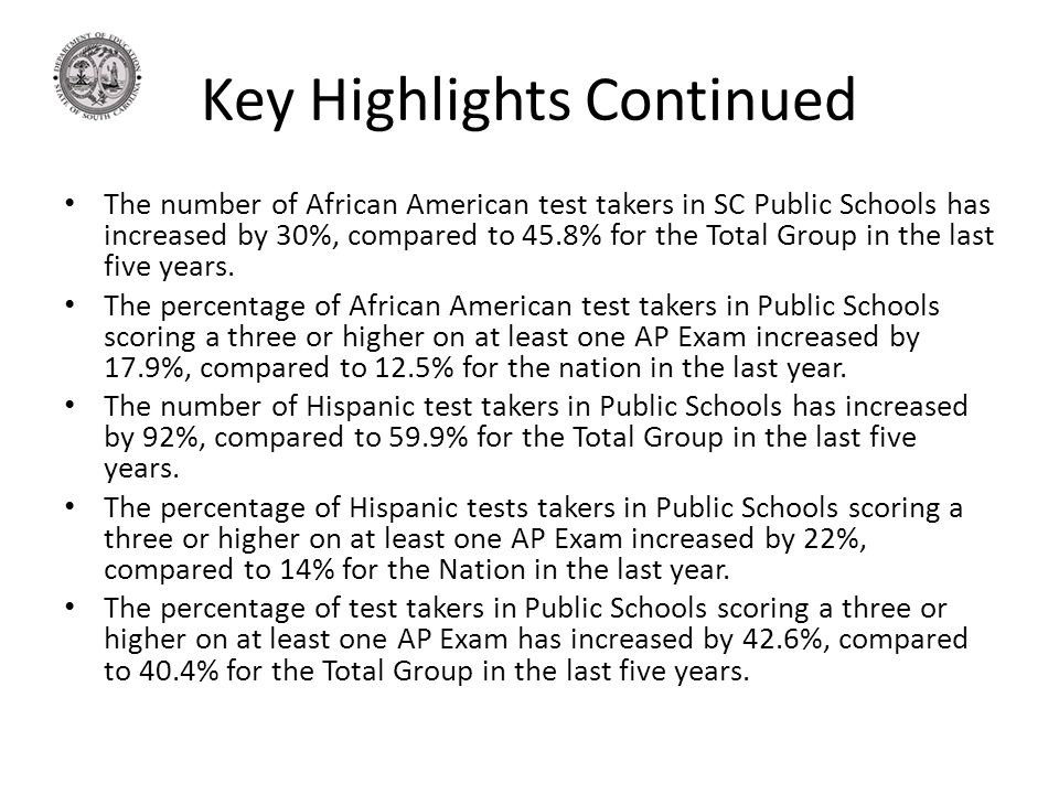 Key Highlights Continued The number of African American test takers in SC Public Schools has increased by 30%, compared to 45.8% for the Total Group in the last five years.