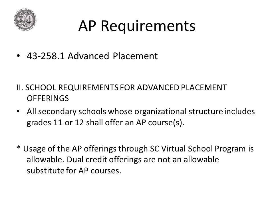 AP Requirements 43-258.1 Advanced Placement II. SCHOOL REQUIREMENTS FOR ADVANCED PLACEMENT OFFERINGS All secondary schools whose organizational struct