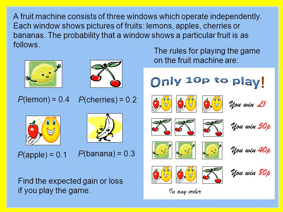 A fruit machine consists of three windows which operate independently. Each window shows pictures of fruits: lemons, apples, cherries or bananas. The
