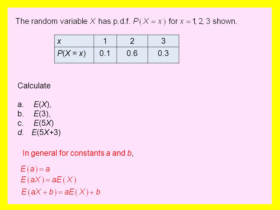 x123 P(X = x)0.10.60.3 Calculate a. E(X), b. E(3), c. E(5X) d.E(5X+3) In general for constants a and b,